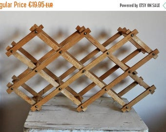 SUMMER SALE Wooden Accordion Wine rack - Foldable Vintage Winerack made of Wood - Rustic Retro Wine Rack - 1970's - Shabby Chic Kitchenalia
