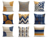 Throw Pillow Cover, Pillow Covers, Navy Carrot Taupe Grey, Accent Pillows, Cushion Covers, Orange and Navy Decor Decorative Pillows