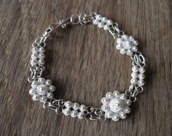 "Sterling Silver Etruscan Style Flower Link Bracelet 6.5"" (1457)"