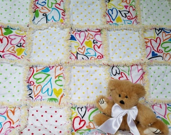 Hearts and polka dots flannel rag quilt lovey / security blanket for baby