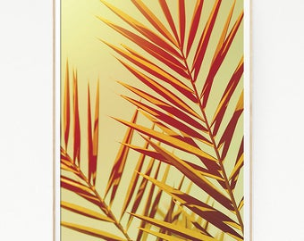 Palm Leaf Trees Wall Decor Print Poster Tropical Beach Retro Vintage Colour Photo Nature Sea Minimalist Green Sky Leaf Sun Photography 1023