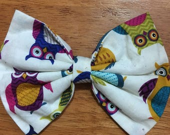 White with Owls Hairbow