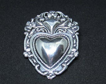 Vintage Jewelry - Sterling Silver Shield with Heart Brooch Pin - Signed - 925