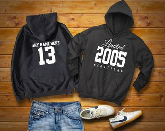 2005 Limited Edition Birthday Hoodie 13th Custom Name Celebration Gift mens womens ladies hooded sweatshirt sweater Unisex Personalized