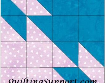 Star in Progress Block 10 Inch Paper Piece Foundation Quilting Block Pattern