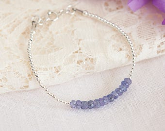 Tanzanite Bracelet, December Birthstone, Stacking Bracelet, Dainty, Tanzanite, Gemstone Bracelet, Sterling Silver