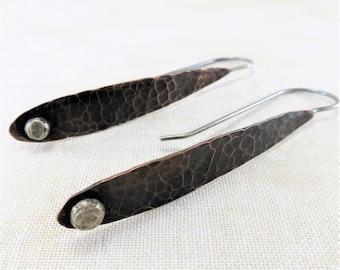 Copper Earrings ~ Mixed Metal Earrings ~ Long Dangle Earrings ~ Rustic Earrings ~ Teardrop Earrings ~ Minimalist Earrings ~ Drop Earrings