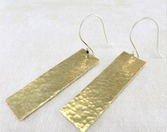 Brass Earrings ~ Rectangle Earrings ~ Dangle Earrings ~ Lightweight Earrings ~ Gold Earrings ~ Mixed Metal Earrings ~ Minimalist Earrings