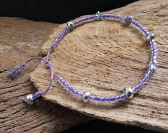 Lilac Purple & Silver Beaded Ankle Bracelet, Waxed Cotton Cord Adjustable Bohemian Crystal Anklet, Seed Bead Anklet, Boho Hippy Festival