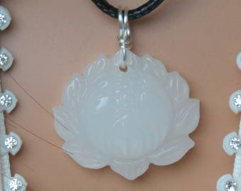 White Jade Lotus Flower Necklace for Prosperity, Luck, Metabolism, Fertility, Balance, Tranquility, Serenity, Long Life & Depression!