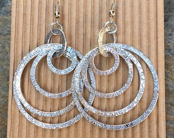 silver multi hoop earrings boho earrings circle earrings hoop earrings hammered earrings dangle earrings gift for her gift for girlfriend