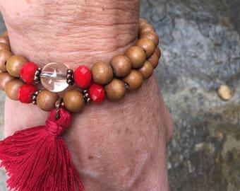 bohemian tassel bracelets Set of 2 energizing brown wooden beaded mala quartz red gypsy chic yoga healing beaded tassel  stretch bracelet