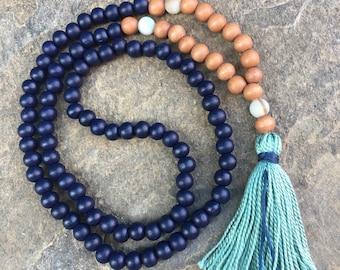 wood bead mala 108 bead mala  tassel necklace navy blue necklace Bohemian mala boho necklace mens mala women's mala prayer beads