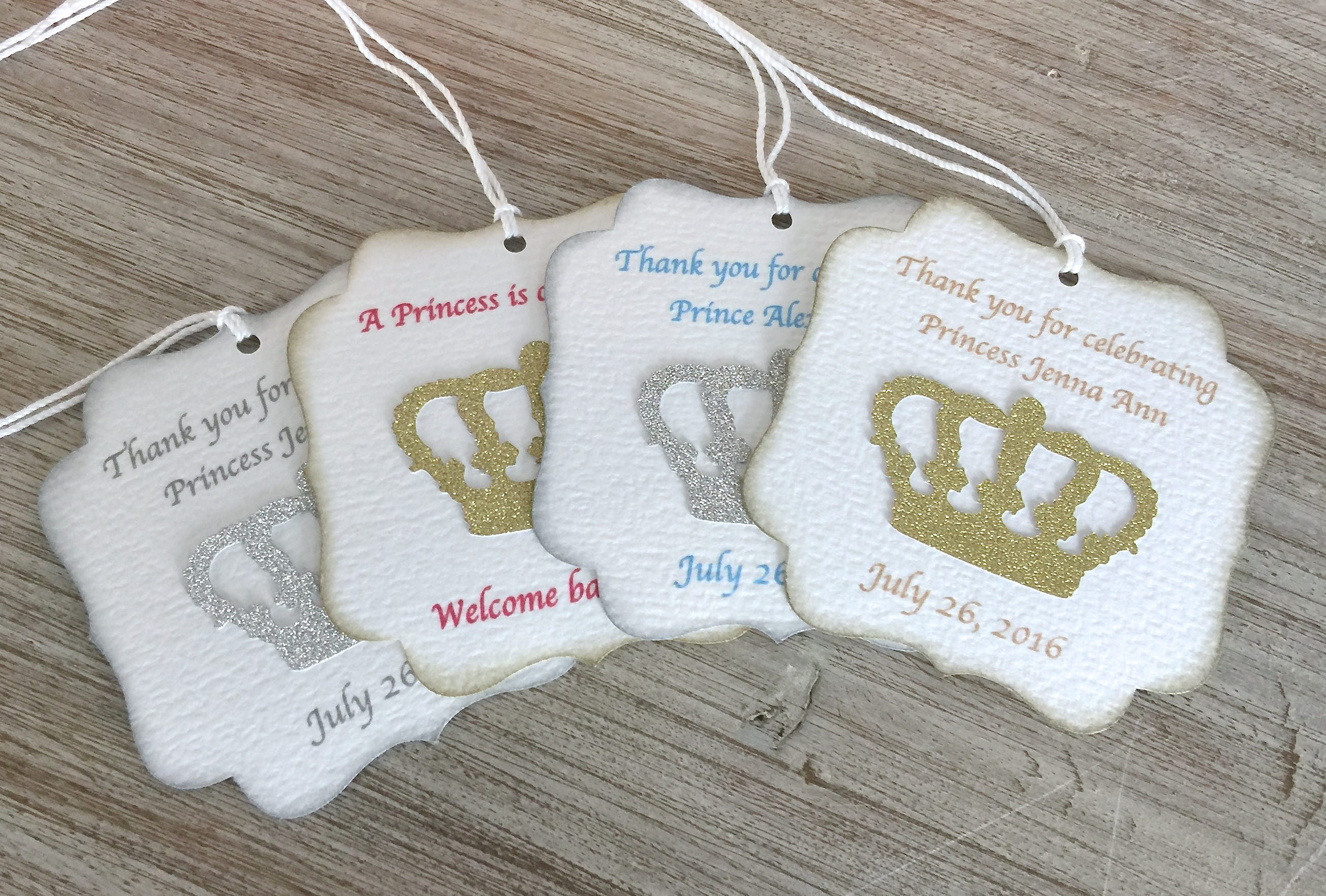 Princess baby shower favor tags Little Prince baby shower