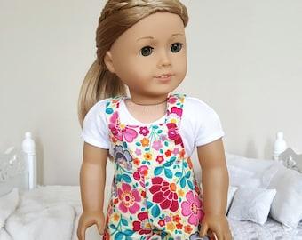 18 inch doll floral shortalls.