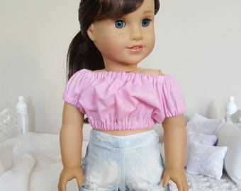 18 inch doll pink peasant blouse | pink crop top