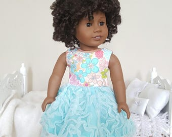18 inch doll floral dress | blue and pink dress | party dress