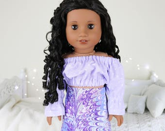 18 inch doll purple peasant blouse | polka-dot cop top | color of the year