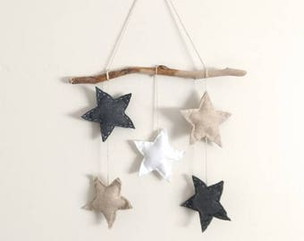 Star wall hanging, driftwood art, nursery art