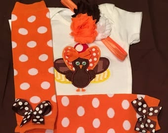 Baby Girl Thanksgiving Outfit, Baby Girl Turkey Outfit, Embroidered Thanksgiving Outfit, Baby Girl Monogrammed Thanksgiving Outfit
