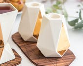 Pair of Shabbat candlesticks white ceramic with 24K gold decal , geometric pentagon candle holders, Rosh Hashanah gift, handmade in Israel