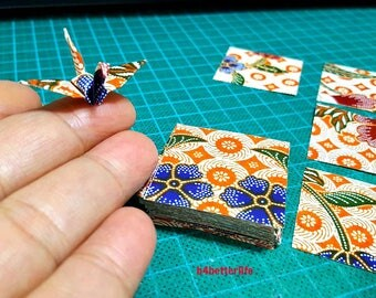 "200 Sheets 1.5"" x 1.5"" Batik Design DIY Chiyogami Yuzen Paper Folding Kit for Origami Cranes ""Tsuru"". (WR paper series). #FC15-50s."