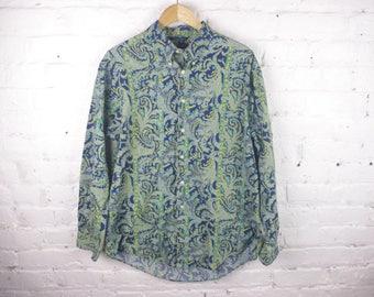 Nautica 90s long sleeve button down shirt paisley pattern