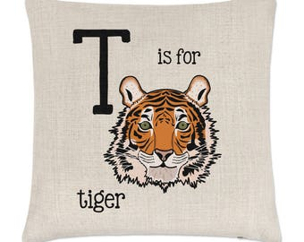 Letter T Is For Tiger Linen Cushion Cover