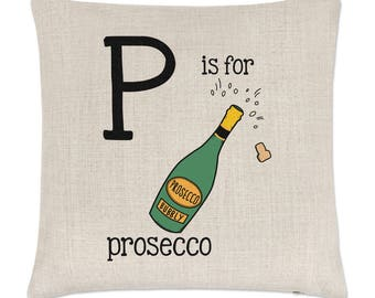 Letter P Is For Prosecco Linen Cushion Cover