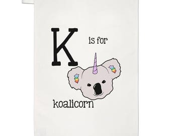 Letter K Is For Koalicorn Tea Towel Dish Cloth