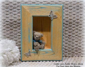 VENDU *** Cadre avec ours d'artiste miniature collection décoration 100% fait main pièce unique OOAK peluche