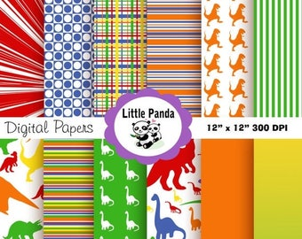 80% OFF SALE Dinosaurs Digital Paper Pack, Scrapbook Papers, 12 jpg files 12 x 12 - Instant Download - D98