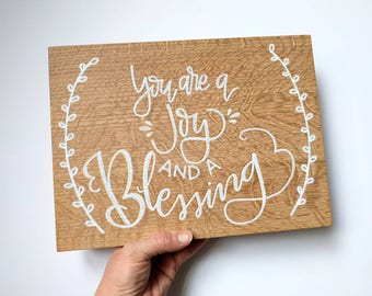"You are a JOY and a Blessing - Natural / Salty Sunbeam Sign Shop / ""Blessed"" Collection / Nursery Wall Art / Baby Room Sign / THW218"