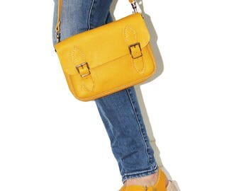 Small Satchel Small Leather Satchel Leather Satchel Satchel Handbag Leather Handbag Yellow Satchel