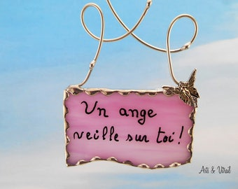 Angel Message, Glass Message Stained glass, Pink Glass, with key, Offered in a Pretty Handmade Gift Card Box, Free Shipping Canada et USA