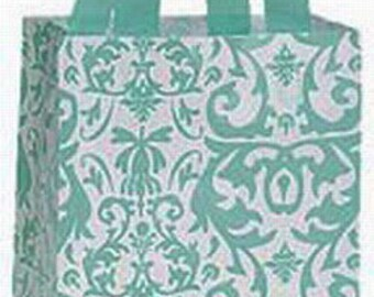 "Aqua Damask Frosted Plastic Shopping Bags ~ 8""x 5"" x 10"""