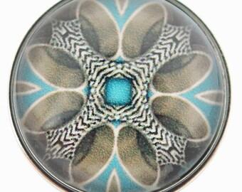 C0176  Art Glass Print Chunk - Soft Feathers