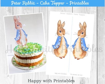 Peter Rabbit Cake Topper - Mr. Rabbit cake topper 7 inch - Peter Rabbit party - Peter Rabbit - Mr. Rabbit printable - Peter Rabbit printable