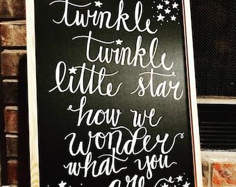 Handwritten Twinkle Twinkle Baby Gender Reveal Board (17 x 23)