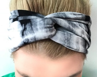 Black Gray White Tie Dye Turban Headband - Headbands for Women - Tie Dye Headband - boho Headband- yoga headband - black tie dye - topknot
