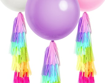 "Large Balloon & Tassel Tail - Neon Rainbow - 36"" inch round - Purple Lilac Pink White and Ivory Balloons - Unicorn Party Ideas"