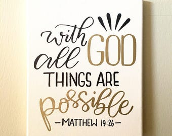 With God All Things Are Possible/ Embossing / Wall Decor / Entryway / Bible / Housewarming / Living Room/ Calligraphy / Hand Lettered