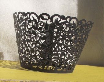 BLACK Filigree Lace CUPCAKE Wrappers,Wraps,Liners,Birthday,Wedding,Party,Desert,Damask,Pincess,Crown,Liners and Cups,Baking,Baking Supplies
