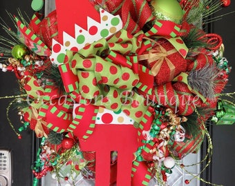 Christmas Wreath, Christmas Decoration, Whimsical Christmas Wreath, Door Hanger, Holiday wreath, Front Door Wreath, Elf Wreath