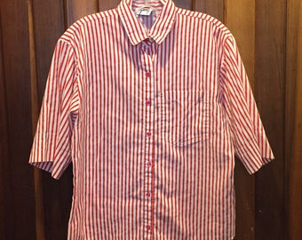 1980s // CANDY CANE // Tapestry Made in USA Short Sleeve Button Down