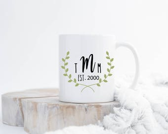Wedding Monogram with Floral Wreath Coffee Mug, Wedding Gift, Bridal Gift, Ceramic Coffee Mug, Newly Wed Gift, Sublimated Coffee Mug