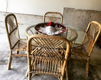 Sold*Do Not Buy*Franco Albini Style Vintage 1970s Rattan and Bamboo Dining Set