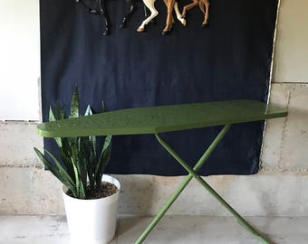 Vintage Full Size Avocado Green Metal Ironing Board