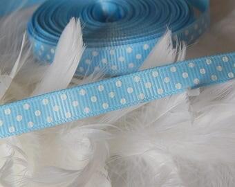 x4m Blue Ribbon with white dots grosgrain Ribbon 10 mm