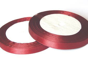 1 roll of 23 meters of 10mm Burgundy satin ribbon